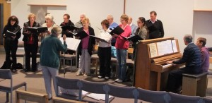 Society rehearsing for the West Bretton Concert